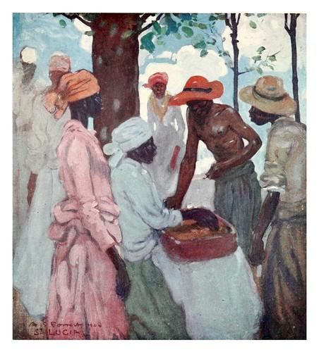 012-Vendedor de pan de jengibre en Santa Lucia Jamaica-The West Indies 1905- Ilustrations Archibald Stevenson Forrest