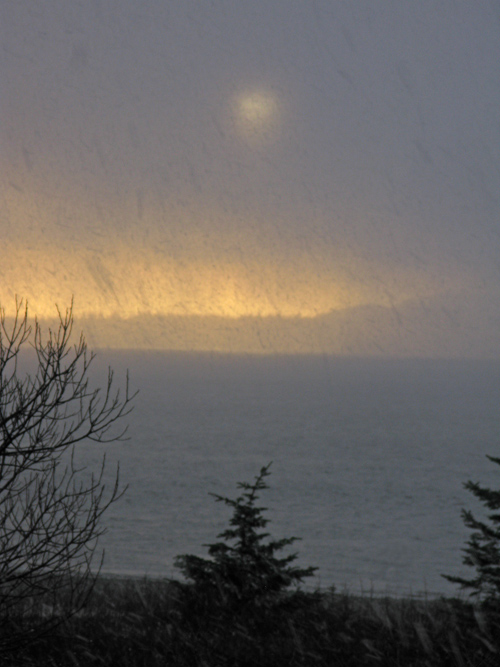 snow squall blocks the sun, Kasaan, Alaska