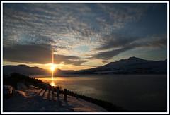 Rising wintersun (joningic) Tags: winter sunset sea sky sun nature rising iceland coluds 2010 akureyri slur