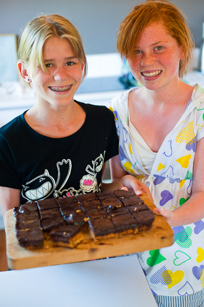 The kids with chocolate slice, Auckland