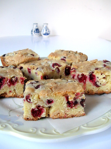 Cranberry bars in plate