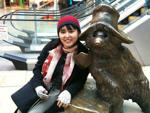Yes, the real paddinton bear in Paddington station London!