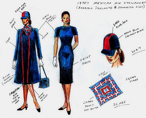 Design sketch for early 70s Mexican Air flight attendant uniform.