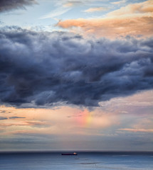 The painterly skys (Mark Solly (F-StopNinja)) Tags: ocean sea sky painterly storm clouds ship pastel edited painted photoshopped dramatic oil tanker marksolly