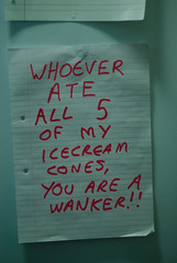 Note to flat 1 (        ) Tags: england students fridge flat dorm halls communication note
