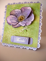 Engraved Flower Thanks (heather maria) Tags: pearls yarn stitching sewingmachine messages heroarts gem embossing watercolourpencils timholtz distressinks glossyaccents cl181 cl288 cg141 scallopborders cg119 flourishbackground february2010a engravedflower winaday2010