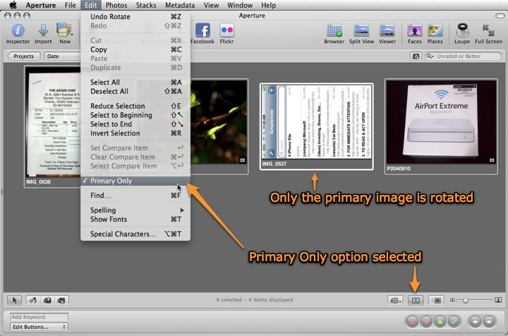 Aperture 3: Only a single image is rotated if Primary Only option is active