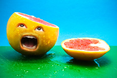 """Day 200/365 """"Death Of A Grapefruit"""" (Explore!) (JustinPoliachik) Tags: justin portrait food fruit photoshop self project dead death living pain hurt funny day head juice manipulation off 200 scream chop grapefruit chopped screaming dying yell grape 365days poliachik"""