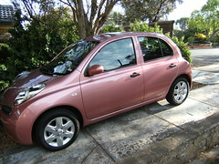 Micra from the side (Suzieboots) Tags: pink car nissan elvis micra firstcar belgianchocolate citycollection londonrose