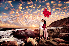 Fly Away With Me (Extra Medium) Tags: ocean park chris beach clouds balloons engagement sand rocks malibu altocumulus cydney cydneychris thisisatmysecretspotsonotputtingitonthemap