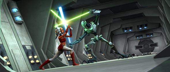 Ahsoka lutando contra o General Grievous.