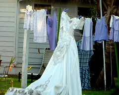 A Picture Is Worth A Thousand Words (colemama) Tags: wedding backyard clothesline weddingdress hangingout msh msh02101 msh0210