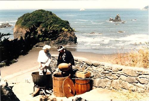 Making tofu on the beach