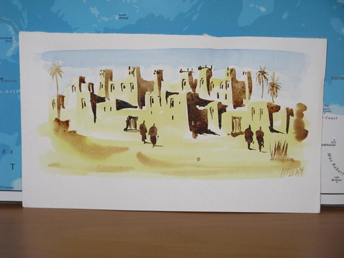 Pintura a açafrão e açucar que comprei em Ait Benhadou, Marrocos