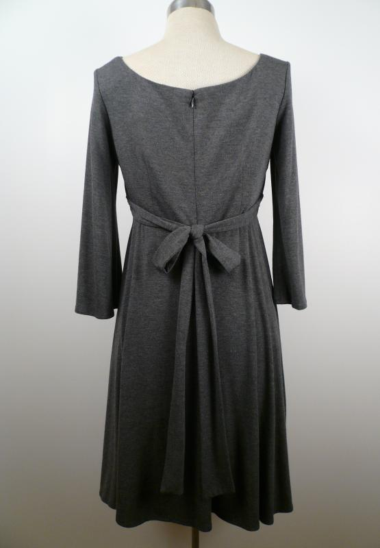 Grey_Knit_Pleated_Empire_Waist_Dress_Back