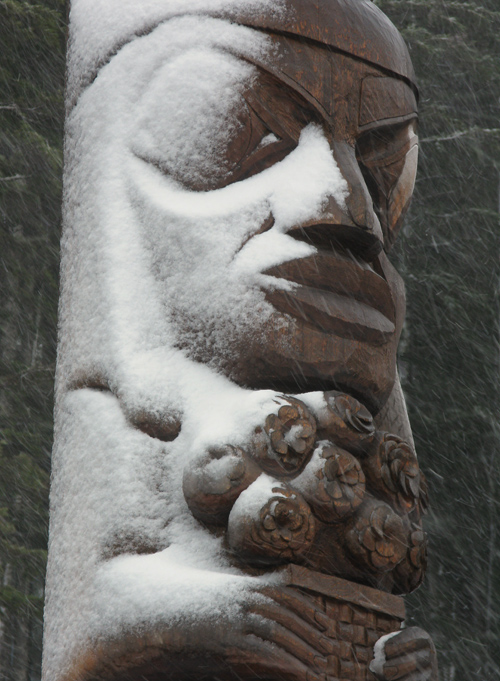 totem figure with snow, Kasaan, Alaska