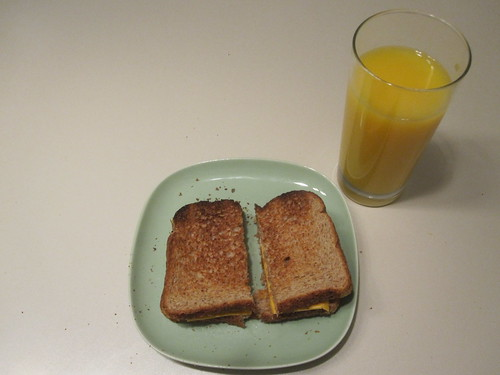 cheese toasts, OJ
