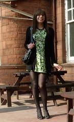 In the shade (Starrynowhere) Tags: black green dress emma tights tgirl transvestite opaque crossdresser starrynowhere