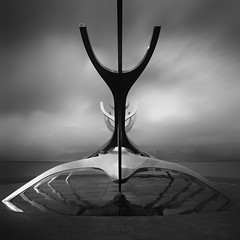 voyager of the polarities (s k o o v) Tags: bw sculpture iceland sunvoyager slfar skoov silverefexpro2