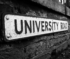 UniRoad Leeds (SMeighan) Tags: road park blackandwhite white black sign university leeds hyde signage hydepark uofl
