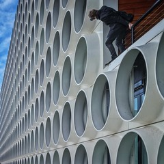Oodles of O's (Paul Brouns) Tags: balancing window square repetition repetitive oodles pattern windows circles circle ravelresidence amsterdam photographer perspective architecture