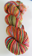 'rustic rainbow' on merino/seacell sock