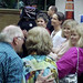 Keith Mackenzie congratulates Jill Glass on her reunion efforts