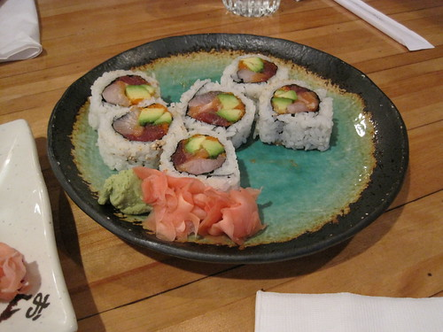 Real sushi made with fish, rice, and avocado