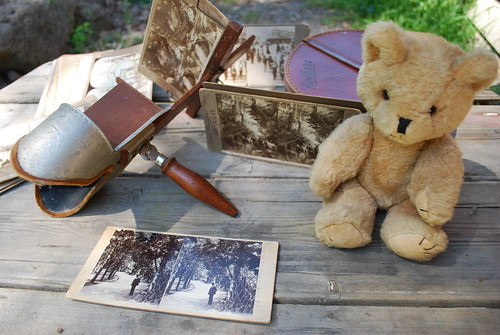 Steriograph viewer and my old teddy