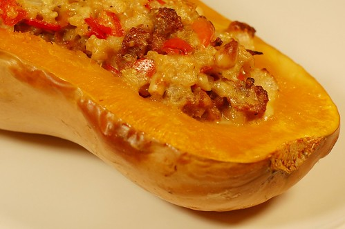 Red Pepper, Sausage & Pinenut Stuffed Butternut Squash by Eve Fox, Garden of Eating blog