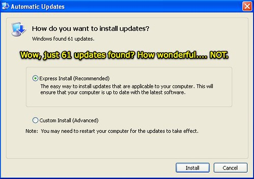Microsoft Windows XP - 61 updates found