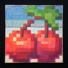 Cherries (Ashley A) Tags: stilllife painting cherry kirby cherries colorful drawing nintendo ds retro canvas videogames nes 8bit pixels gameboy snes coloredpencil thiebaud philipguston representationalart illusionism pixellation traditionalpainting digitalimagery