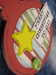 Ornament (JustScrappinHappy) Tags: road christmas red sparkles glitter scrapbooking fun star december maya photos 1st buttons gifts ornaments button ribbon merry embellishments imaginisce justdandy shessocrafty arainbowofcolor allthingsfun