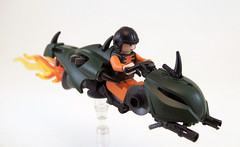 The Emerald Viper (Titolian) Tags: bike dragon lego space flames guns viper emerald speeder