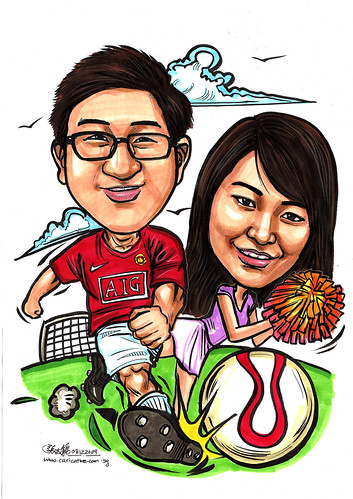 Couple caricatures - Man U soccer player + pong pong girl A4