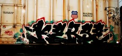 "Jaber ""Hi Kerse"" - Kerse amfm (mightyquinninwky) Tags: railroad up rain train logo geotagged graffiti head character tag graf flash profile tracks indiana railway motto tags tagged southernindiana railcar rails raindrops unionpacific shield spraypaint graff graphiti freight trainyard reefer downpour amfm trainart paintedtrain jaber freightyard railart kerse rainyafternoon ohiorivervalley buildingamerica taggedtrain paintedsteel evansvilleindiana csxtrainyard geo:lat=37959104 howellevansvilleindiana paintedreefer geo:lon=8761042 howellfreightyard paintedrailcar taggedreefer taggedrailcar 11223344556677 carfireonflickr charactersformyspacestation trainsformyspacestation"