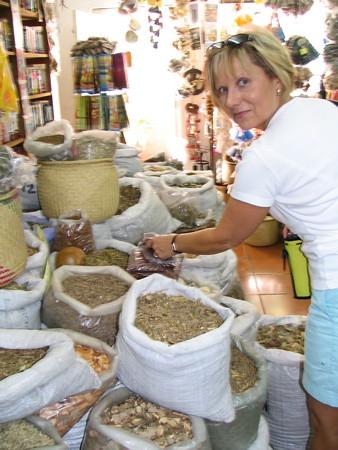 Jean in a shop in Cancun