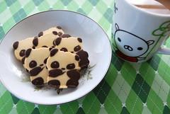 panda cookies (sevenworlds16) Tags: bear green cookies breakfast panda chocolate bakery mug vanilla shortbread sogo