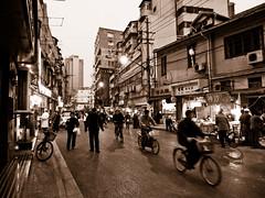 Shanghai (dav) Tags: china street urban bicycle sepia lumix asia shanghai panasonic toned lx3 panasoniclx3 powerlinesoftheworld dav