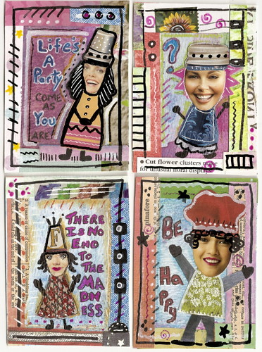 ATCs in the style of Teesha Moore
