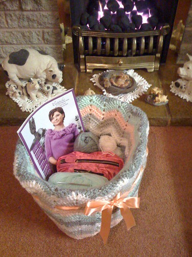 Fireside Ripple Basket to hold my yarn, hook case, magazines etc., Oh and Wool!:)