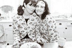 monkey breakfast (sgoralnick) Tags: alexis ny breakfast farmhouse upstate upstateny newyears paulfrank pajamas corrina partyhouse flannelpajamas matchingpajamas monkeyprint corrinaissodamncuteinthosepigtails