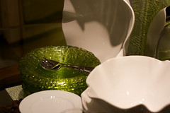 Nice cutlery (JenGallardo) Tags: nyc newyorkcity newyork green shiny plates porcelain flatware crateandbarrel 59th 59thstreet