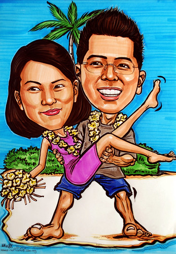 couple caricature @ beach resort
