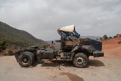 TRUCKING IN MOROCCO (Claude  BARUTEL) Tags: africa mountains sahara truck desert accident morocco atlas roads trucking