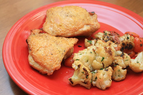Roasted Chicken Thighs w/ Cauliflower