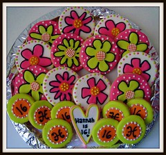 Hannah's Sweet Sixteen Cookies (Andovercookiemama) Tags: cookies sweetsixteen decoratedcookies flowercookies