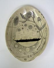 ship oval (diana fayt) Tags: flowers blackandwhite dog ceramics seahorse ship handmade clay octopus pottery whale wren raven quail dogwoods 2010 scrimshaw dianafayt californianativeflowers