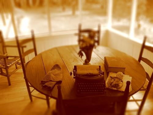 Marjorie's desk, tiltshifted
