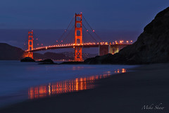 Aperture Academy Night Owls Workshop, Baker Beach (4) (M. Shaw) Tags: ocean sanfrancisco california lighting bridge sunset beach water architecture night canon lights goldengatebridge workshop bayarea bluehour bakerbeach longexposer 2470mmf28l canoneos5dmarkii mshaw 5dmark2